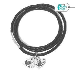 Leather Bracelet & Small Handprint Charms