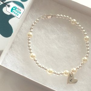 Silver & Pearl Ball Bracelet with heart initial charm