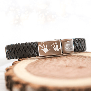Men's Leather Engraved Bracelet