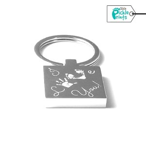 Square Engraved 'I Love You' Keyring