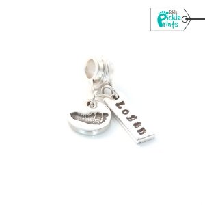 Mini footprint charm & Name tag