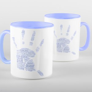 Blue Words of Love Handprint Mug