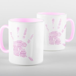 Pink Words of Love Handprint Mug