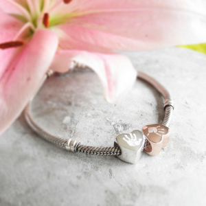 Engraved Rose Gold Handprint Charm Bead