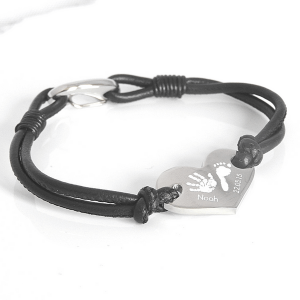 Engraved Leather Heart Handprint Bracelet