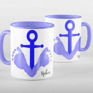 Blue personalised footprint anchor mug