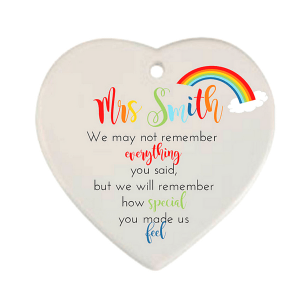 Rainbow Leavers Hanging Heart