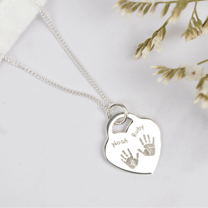 Engraved Handprint Heart Necklace