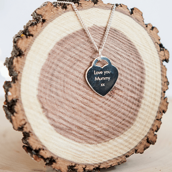 Engraved Handprint Heart Necklace - Reverse