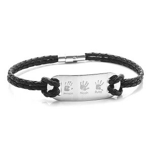 Engraved Leather ID Bar Bracelet