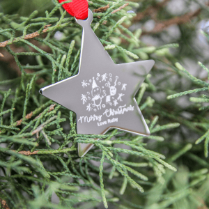 Engraved Doodle Star Decoration