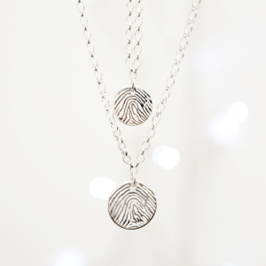 Mini Disc Engraved Fingerprint Necklace