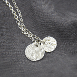 Enlarged Fingerprint Disc Necklace