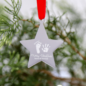 Engraved Hand & Footprint Star Decoration