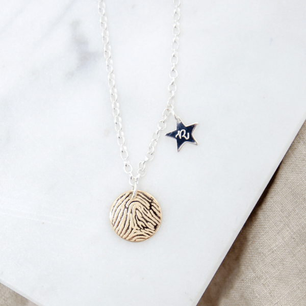Shining Star Engraved Fingerprint Necklace
