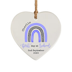 First Day at School Blue Dotty Rainbow Hanging Heart