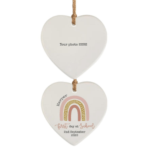 First Day at School Pink Dotty Rainbow & Photograph Hanging Hearts