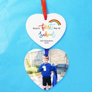 First Day at School Star Design Hanging Heart