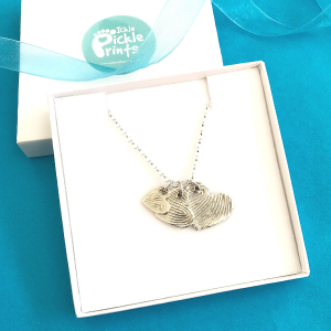 Enlarged Fingerprint Heart Necklace