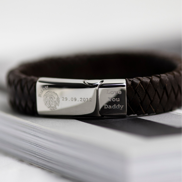 Men's Leather Engraved Fingerprint Bracelet