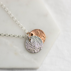 The Sun & Moon - Mixed Metal Enlarged Fingerprint Necklace