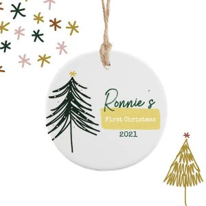 Babies First Christmas Personalised Decoration - Green