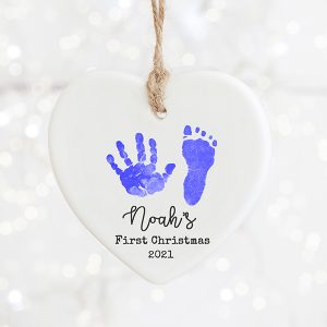 Hand and Footprint First Christmas Decoration